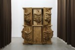 Jan Kaps, Daniel Dewar & Grégory Gicquel, The Mammal and the Sap, Oak cabinet with organs, 2017, Oak wood, 250 × 261 × 86 cm